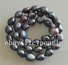 schöne 9-10mm schwarz Barock Süßwasser Perlenkette 16-25 Zoll Magnetverschluss