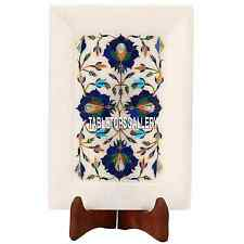 8''x6'' White Marble Lapis Plate Tray Inlay Semi Precious Arts Decor Gifts H3648