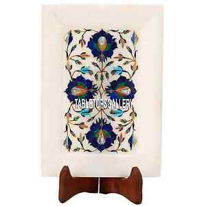 8''x6'' White Marble Tray Plate Lapis Precious Floral Inlay Art Décor Gift H3648