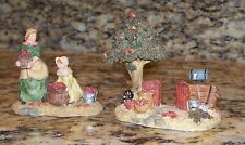 Mother Daughter Apple Picking Thanksgiving Christmas Village Miniature Figurines