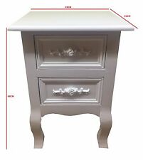 New Shabby Chic White Wood Rose Bedside Tables Cabinets 2 Storage Drawers Unit