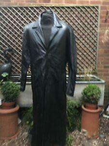 ATTRACTION London very long black leather coat men's size medium