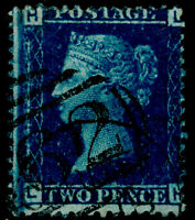 SG45, 2d blue PLATE 12, FINE USED. Cat £140. LH