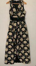 Ted Baker Elegant Long Floral Maxi Dress Gown (Ted Size 2) Uk 12 Black/Creme