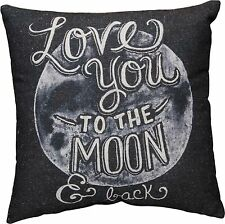 "LOVE YOU TO THE MOON & BACK Large Throw Pillow, 16"" x 16"", Primitives by Kathy"
