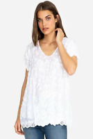 💕JOHNNY WAS Embroidered AUBREY Crochet Eyelet V NECK Draped Tunic Blouse S $250
