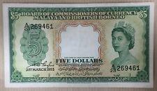 1953 Malaya QEll  $5 banknote A/23 269461 very beautiful banknote !