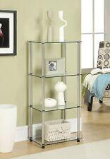Clear Glass Shelf Rack System Tower Corner Shelves Small Retail Storage 4 Tier