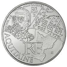 10 euros des régions personnages en argent Aquitaine 2012