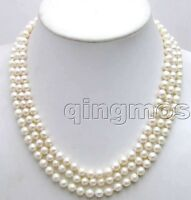 6-7mm Round AA Natural White Pearl Necklace for Women Jewelry 3 Strands Chokers