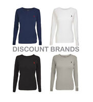 Ladies Ralph Lauren Polo Custom Fit Crew Neck Long Sleeved T Shirt Top