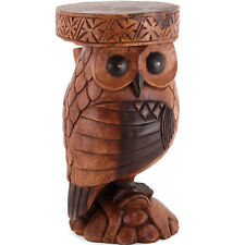 Wooden Owl Side Table/Stool/Solid Acacia Wood/Lamp Table/Plant Stand/Hand Carved