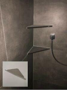 Befliesbare Duschablage - Edelstahl 1.4301 gebürstet -  240 mm Kantenlänge