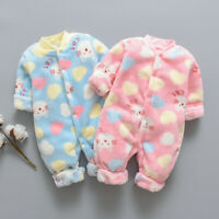 UK Newborn Infant Baby Winter Cartoon Fleece Warm Romper Jumpsuit Soft Pajamas
