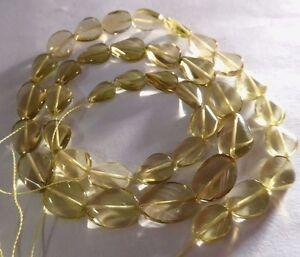 "Genuine Lemon Yellow  Quartz Twisted Oval Gemstone Beads 16"" Strand 6x9mm"