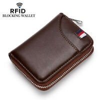 Men's RFID Blocking ID Credit Card Holder Genuine Leather Business Zipper Wallet