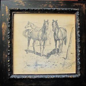 Original Framed Drawing Rustic Horses R Dukard Pencil on Paper