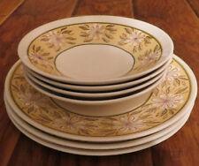 Taylor USA Ironstone GREEN YELLOW DAISY Set of 3 Dinner Plates & 4 Bowls