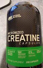 Optimum Nutrition micronized Creatine 200 Caps 09/2021 ( damaged top)