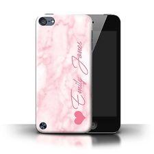Personalizzato Marmo Custodia per Apple iPod Touch 5/Cuore Rosa Firma/Iniziale