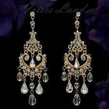 18K Gold Plated GP Clear Crystal Chandelier Wedding Drop Dangle Earrings 09168