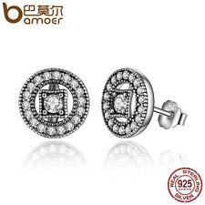 Bamoer f S925 Sterling Silver Stud Earrings Vintage Allure, Clear CZ for women