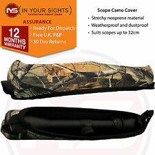 "Neoprene gun rifle scope cover / Reversible camo & black/ Suits upto 13"" scopes"