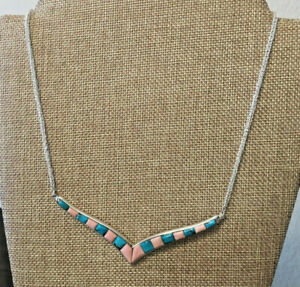 "Jay King Turquoise and Opal Inlay Reversible 18"" Sterling Silver Chain Necklace"