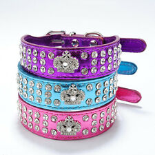 Bling Diamond Crystal Rhinestone Crown Leather Dog Cat Puppy Pet Collar Cutie