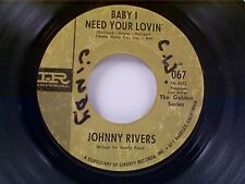 "JOHNNY RIVERS ""BABY I NEED YOUR LOVIN / THE TRACKS OF MY TEARS"" 45 OLDIE"