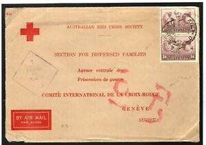 AUSTRALIA RED CROSS SOCIETY Refugee Stationery WW2 Cover *OAT* Air Geneva W630
