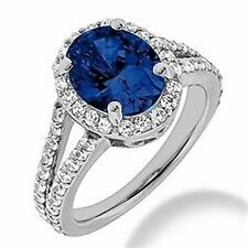 3.70ct Oval Blue Sapphire Diamond Halo Engagement Ring 14k White Gold Split Band