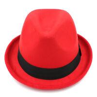 Men Women Fedora Hat Trilby Cap Solid Upturn Brim Sunhat Sunbonnet Panama Size L