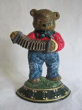 """Cast Iron Door Stop Bear Playing Accordion Concertina  6.5"""" Tall"""