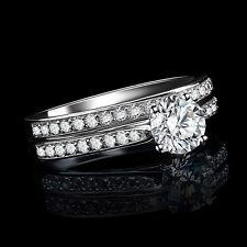 ENGAGEMENT/WEDDING RING SET WHITE TOPAZ SOLITAIRE WHITE GOLD OVERLAY  - SIZE 7