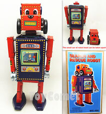 Ms486 Search and rescue Robot Retro Clockwork Wind Up Tin Toy w/Box
