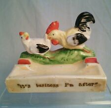 Vtg Mid-Cent Lusterware Rooster hen Chicken Country Farm RISQUE Ashtray GAG GIFT