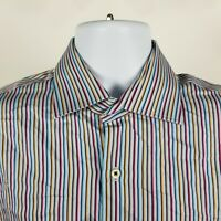 Peter Millar Mens Blue Red Multi Color Striped Dress Button Shirt Sz Medium