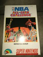 NBA: All-Star Challenge Super Nintendo/SNES Instruction Booklet Manual Only