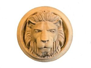 Hand Crafted Solid Hardwood Lion Head in Round Frame