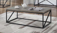 Industrial Style Wood And Metal Rectangular Coffee Table Sonoma Grey