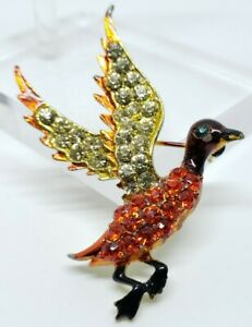 Ornate Vintage Metallic Enamel & Glass Rhinestone Autumn Avian Duck Bird Brooch