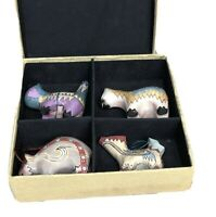 OOAK Set of 4 Wooden Southwest Hand Painted Animal Ornaments in Box