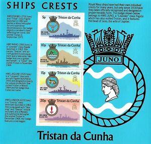 TRISTAN DA CUNHA 219A MNH S/S ROYAL NAVY SHIPS AND ARMS