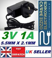 Universal DC 3V 1A/1000mA Power Supply Adapter 100-240 AC Charger Mains UK Plug