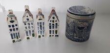 Dutch Pottery Delft Pot And Dutch Houses x 4