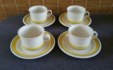 Arabia Finland Faenza Yellow Rimmed (4) Cup and Saucer Sets