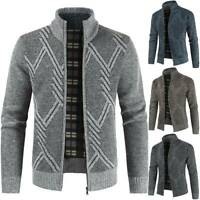 Winter Mens Fleece Lined Knitted Warm Cardigan Jacket Zip Up Thermal Jumper Coat