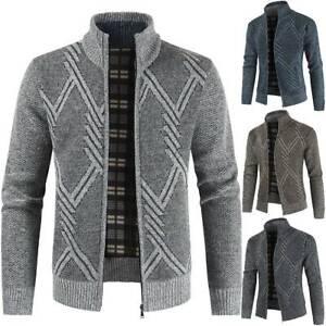 Mens Fleece Lined Insulated Knitted Zip Cardigan Warm Winter Knitwear Jumper