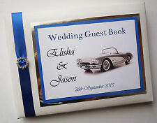 PERSONALISED VINTAGE CAR WEDDING GUEST BOOK WITH DIAMONTE BUCKLE  - ANY COLOUR